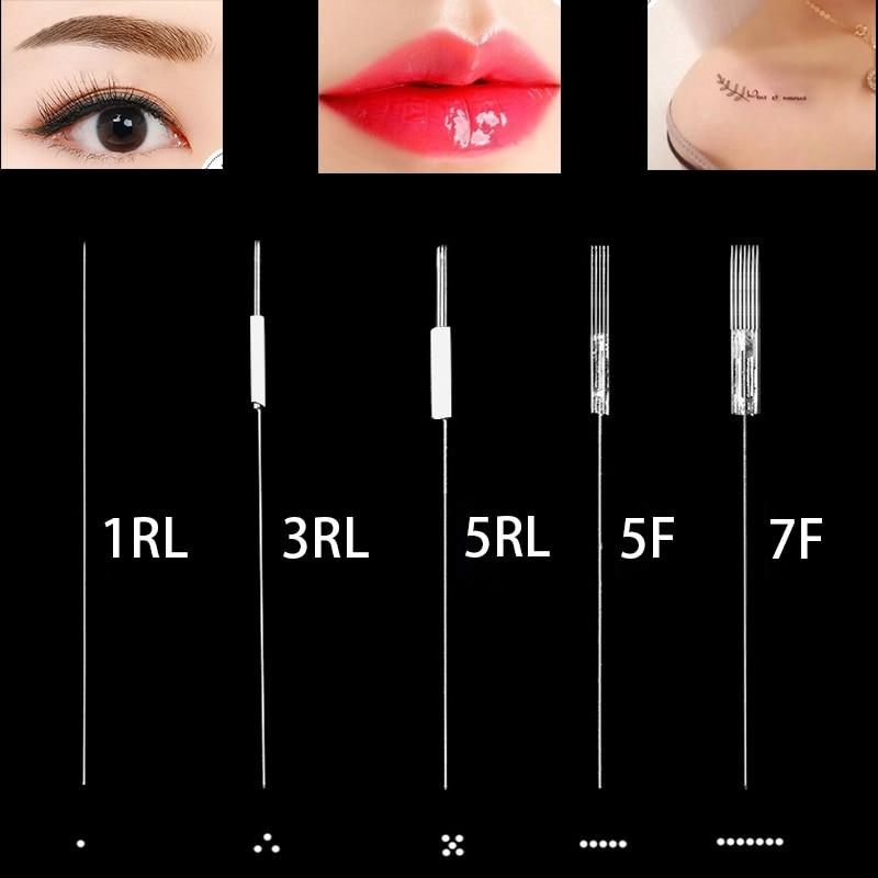 Image 2 - Professional 50PC Disposable needle + 50PC needle cap Universal Dermografo Micropigmentation Pmu Needles for Tattoo Machine Pen-in Tattoo Needles from Beauty & Health