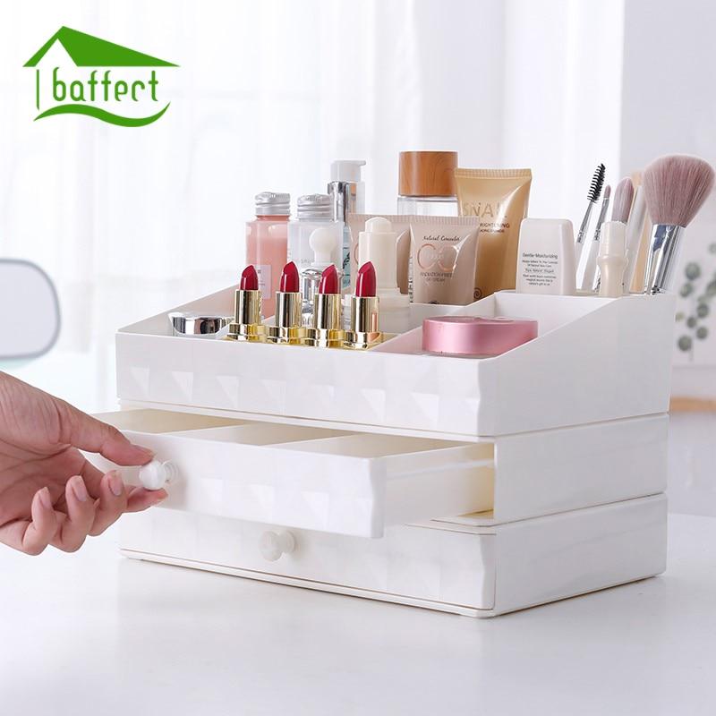 New European Drawer Cosmetics Storage Box Plastic Combination Desktop Jewelery Makeup Storage Box Flash Drilling Handle Dresser