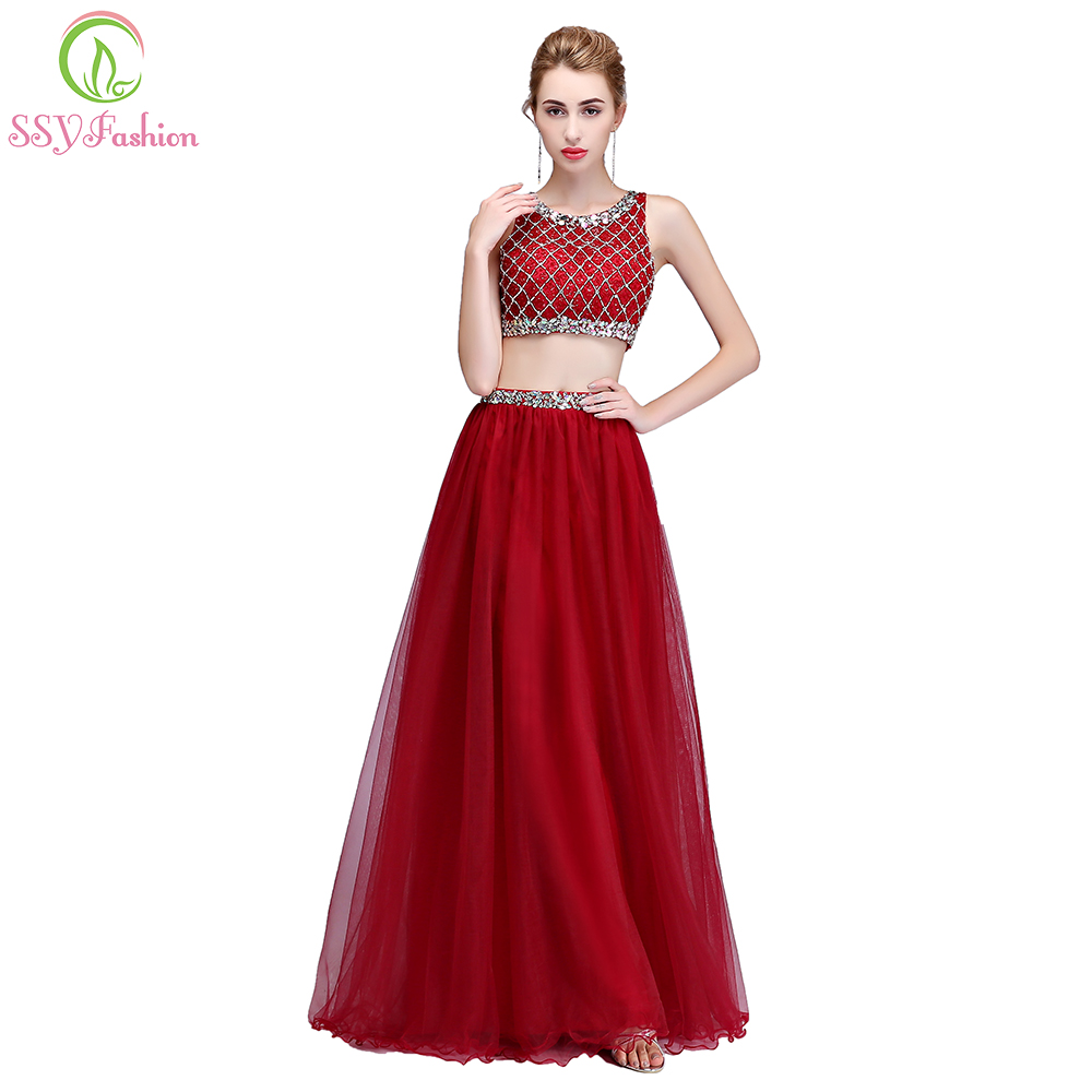 Clearance Luxury Beading Evening Dress Two Pieces Seperate Prom Dress Banquet Sexy Floor-length Party Gown Robe De Soiree