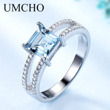 UMCHO katı 925 ayar gümüş takı oluşturulan Nano Sky Blue Topaz yüzük kadınlar için kokteyl yüzüğü düğün parti güzel takı