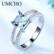 Umcho sólido 925 prata esterlina jóias criado nano céu azul topázio anéis para mulheres cocktail anel festa de casamento jóias finas