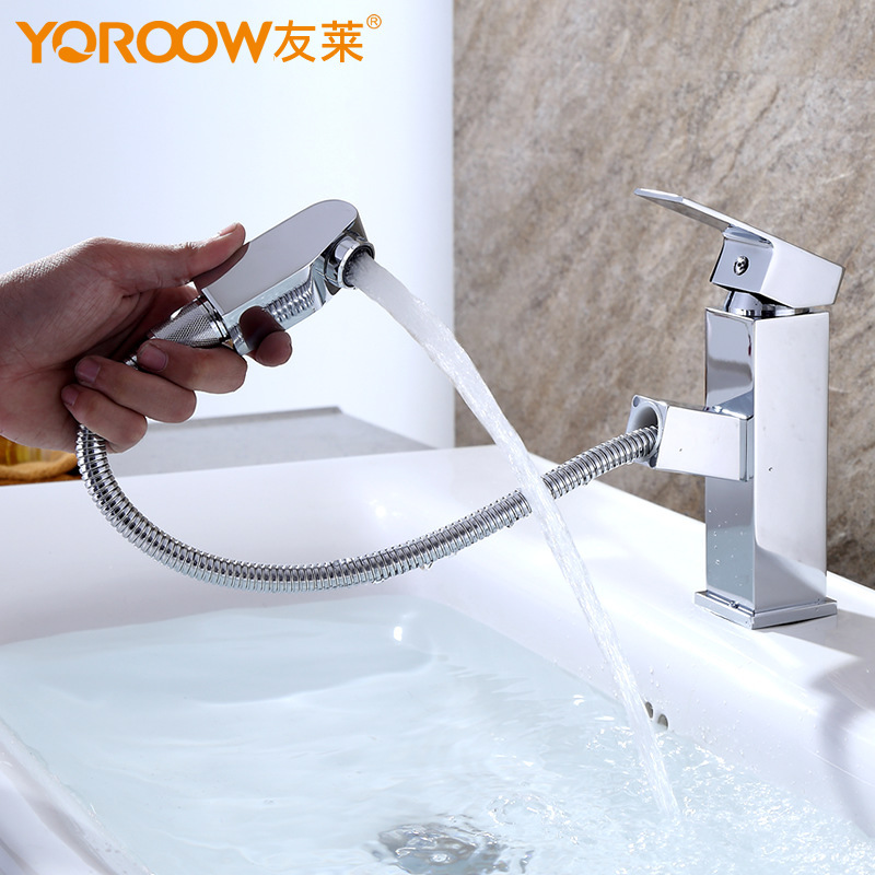 Bathroom Faucet Pull Out Faucets Deck Mounted Basin Mixer Faucet Chrome Sink Tap Vanity Hot Cold Water Faucet black brass vanity sink pull out faucet basin mixer hot and cold water for bathroom toilet kitchen
