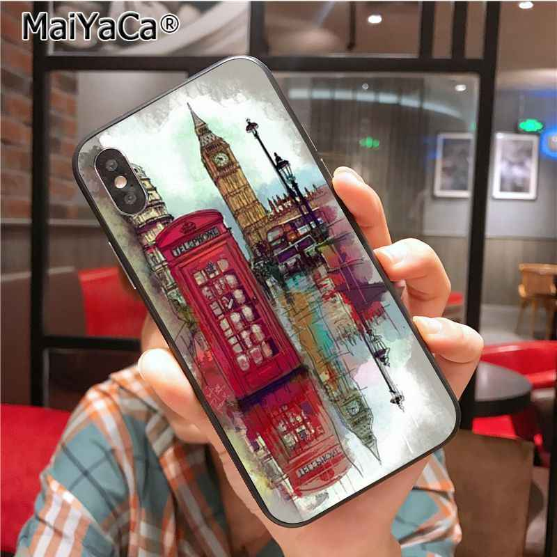 Maiyaca style london bus england telephone vintage british Smart Soft TPU for iPhone 8 7 6 6S Plus X Xs Xr XsMax 5 5s SE 5c Cose