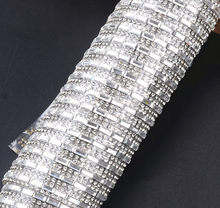 24 40cm Roll Rhinestones Trim Fancy Rectangle Crystals Hotfix Mesh Glass  Crystals Beads Appliques Iron On Strass Band For Dress aac7af94410f