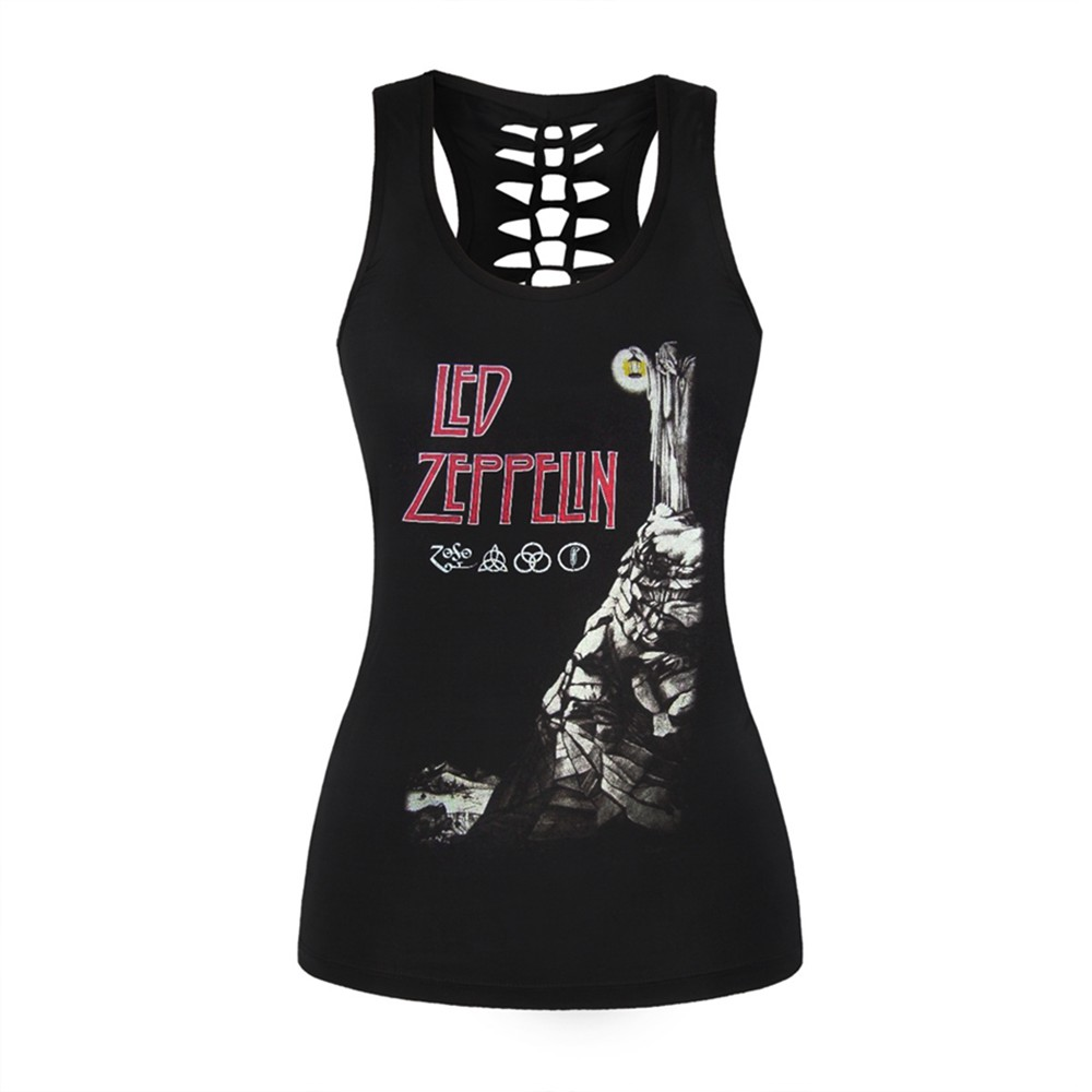 Vest Shirts Tank-Top Zeppelin Camisole Rock-Style Black Sexy Female Hollow-Out Women