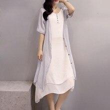 c32a94e208 Algodón de lino más vestidos de tamaño para las mujeres 3xl 4xl 5xl kimono  Maxi vestido sin mangas vestido blanco verde y cardig.