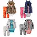 Baby Boy Girl Clothing set 3-Piece Bodysuit & Hooded Long-Sleeve Outwear & Pants soft Cotton Bebes Clothing soft set