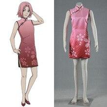 Японские Аниме Наруто Харуно Сакура Cheongsam Розовый Одежда Для Девочек Косплей Одежда Для Женщин Костюм НАРУТО ФИЛЬМ ПОСЛЕДНЕГО