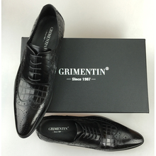 GRIMENTIN Brand genuine leather mens wedding crocodile styleformal shoes