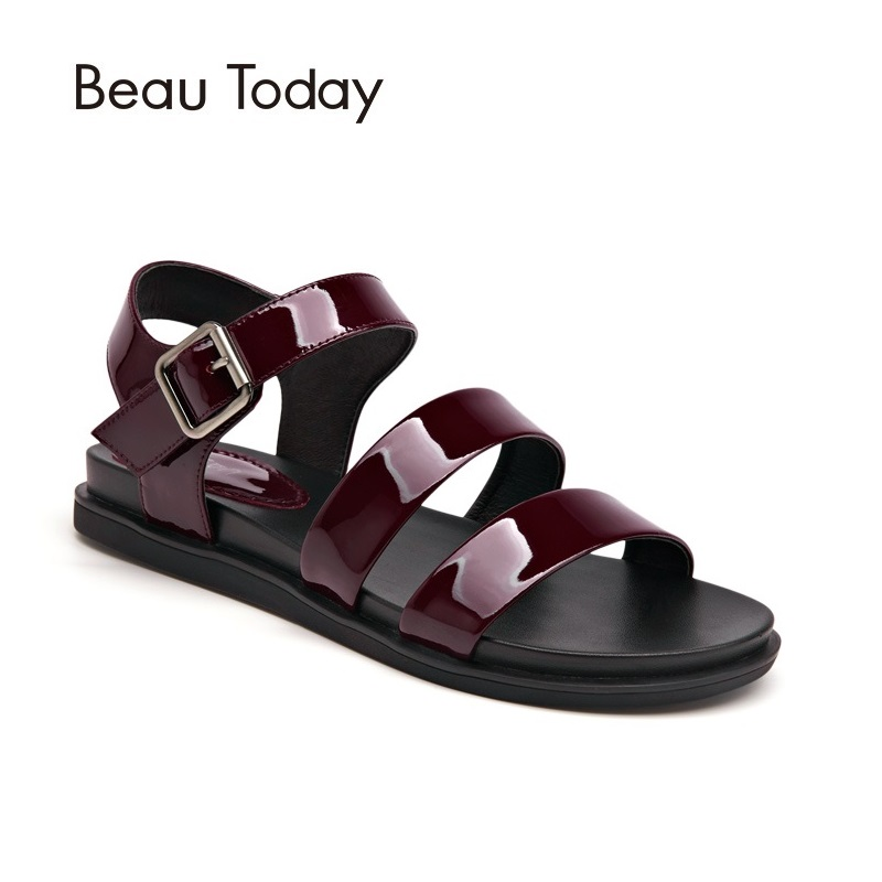 BeauToday Cow Leather Summer Sandal Women Ankle Strap Hook and Loop Flat Heel Patent Leather Ladies Shoes with Box 32038