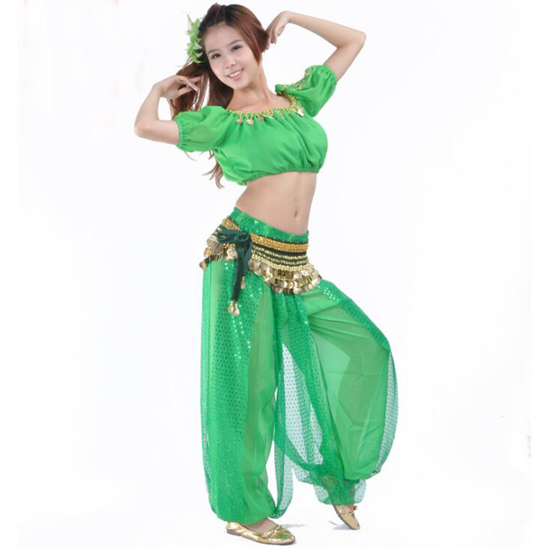 Free-shipping Indian <font><b>Bollywood</b></font> dancing Costumes with sequins <font><b>Tops</b></font>+Pants 2pcs sexy belly dance Suits sequins dress Clothes image
