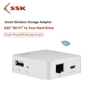 SSK WiFi External Hard Drive Smart Hard Disk Adapter Personal Cloud Storage Auto Backup Wireless for HDD PC USB Hub Card Reader