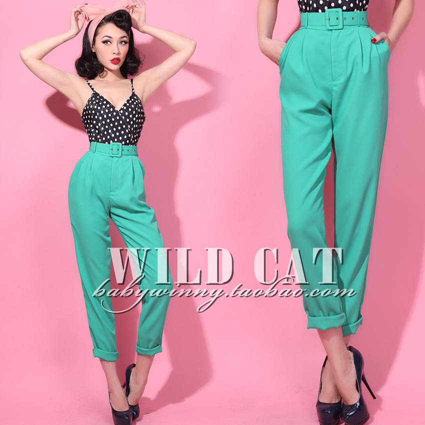 FREE SHIPPING Spring New Arrival Vintage Classic Casual High Waist Loose Long Pants With Belt All