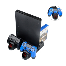 For SONY Playstation 4 Charger Stand PS4/PS4 Slim/PS4 Pro Dual Controller Charger Console Charging Station Dock With Cooling Fan ps4 ps4 slim ps4 pro ps vr game disk storage tower console stand holder w controller move charging dock station cooling fan
