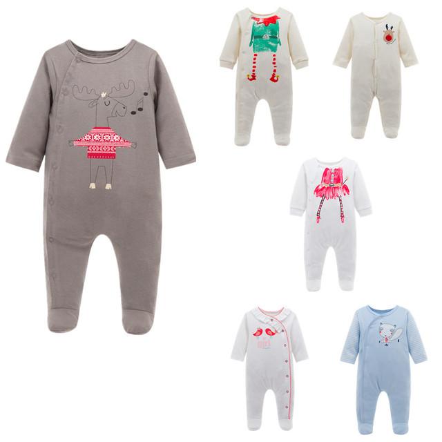 2017 Bebê Recém-nascido Roupa Do Bebê Da Menina do Menino Macacão de Manga Longa de Algodão Cloting Infantil roupas 0-12 Meses