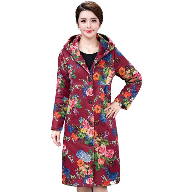 Párrafo largo abrigo de las mujeres Chaqueta de algodón de gran tamaño de impresión térmica engrosamiento de Mama cargado de algodón abrigo