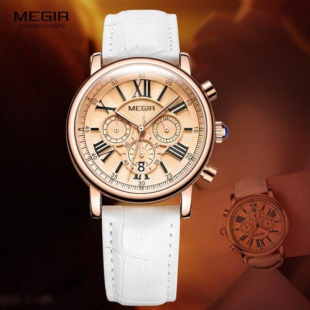 ساعة كوارتز بكرونوجراف من Megir للنساء مع 24 ساعة وعرض التقويم الأبيض حزام من الجلد ساعات المعصم للسيدات 2058L