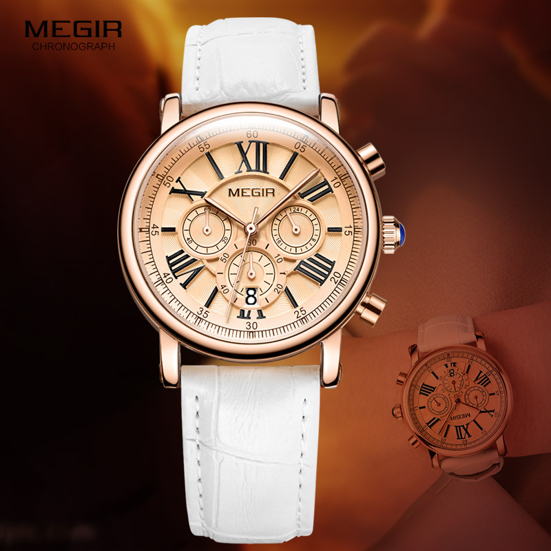 Megir Woman's Chronograph Quartz Watch With 24 Hours And Calendar Display White Leather Strap Wrist Stopwatches For Ladies 2058L