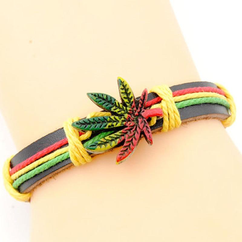 Leather Charm Bracelet Reggae Rasta Jamaica Lucky Leaf