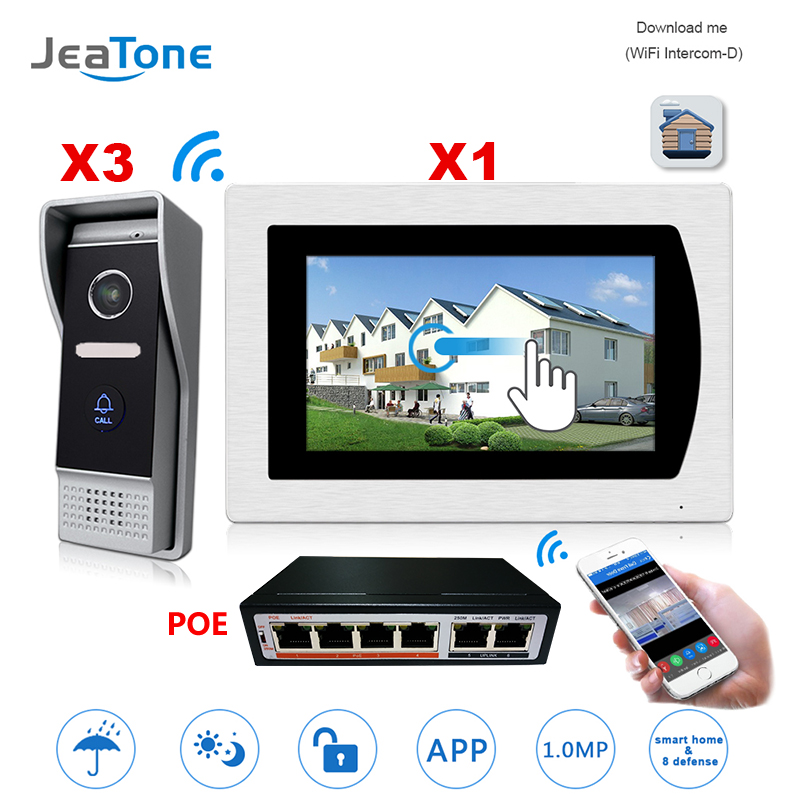 Video Intercom Smart Phone App Unlock IP Video Door Phone 3 Doors Home Access Control System Motion Detection Touch Screen