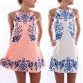 Mulheres vestidos de verão chiffon menina sem mangas beach dress reto porcelana solto vestidos de festa roupas femininas plus size s-xxl