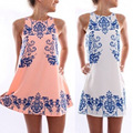 Summer Women Dresses Chiffon Girl Sleeveless Beach Dress Reto Porcelain Loose Party Dresses Female Clothing Plus Size S-XXL