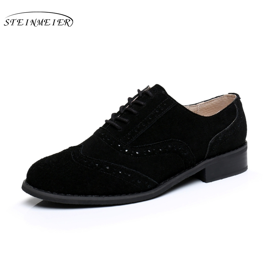 women flat leather oxford shoes for woman handmade flats black vintage big US 10 British style