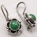 Pure Silver Rare MALACHITE GIRLS' Earrings 3/4 inches ANTIQUE STYLE JEWELRY
