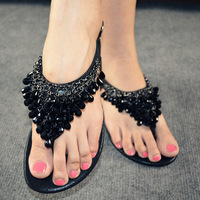 2017 New Hot National Style Women Sandals Bohemia Flats Beaded Size Foreign Trade Shoes Summer Shoes