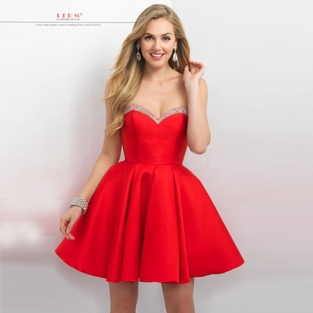 short satin red dress