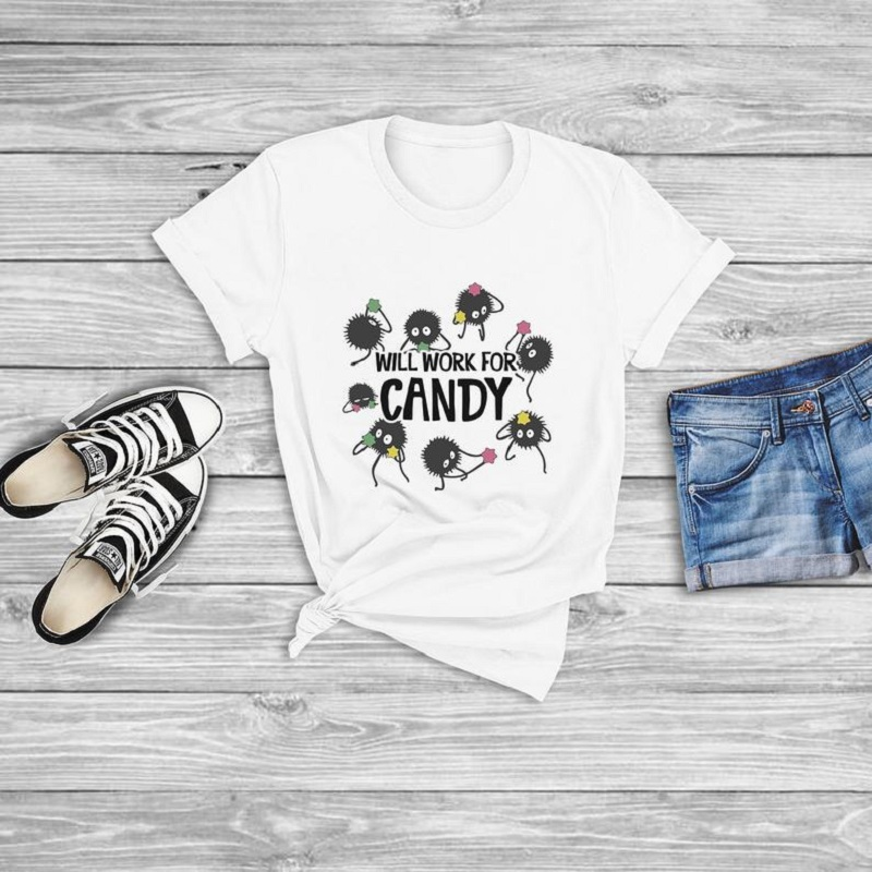Will Work For Candy design Women T shirt O-neck fashion Plus Sized Woman T-shirt streetware top Lady letter White