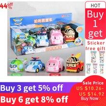 4pcs Original Poli Robocar Toys Korea Poli Inertial Car Children Transformation Action Toys Figure Toys for Kids Playmobil