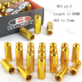 JDM M14 * 1.5 20 NEW Style Pieces Set L: 60mm Open ended Blox Forged 7075 Aluminum Wheel nuts Wheel nuts Gold