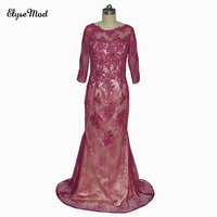 Real Mermaid Scoop Appliques 3/4 Sleeves Evening Gowns Long Fuchsia The Mother Of Bride Dress Plus