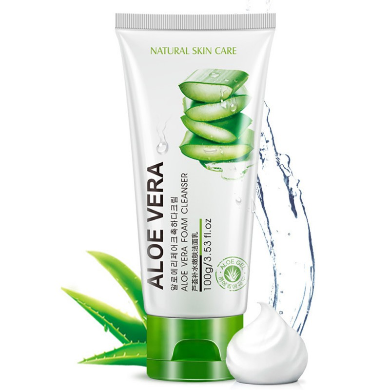 Face Deep Washing Aloe Vera Gel Facial Cleanser Foam Skin Care Solar Acne Cosmetic Nutritious Whitening Treatment image