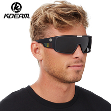KDEAM Brand Sunglasses Men Sport Goggle Sun Glasses Polarized Windproof Shield Frame Reflective Coating Original case