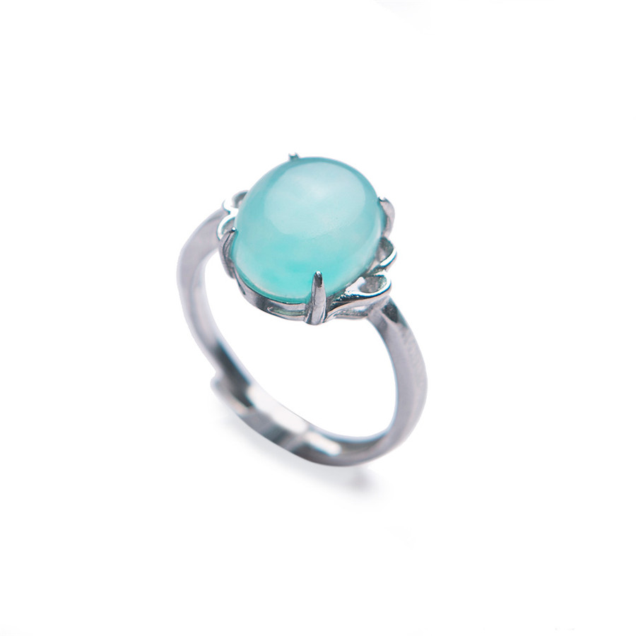 Genuine Natural Adjustable Amazonite Crystal Ring Trendy 925 Sterling Silver Stone Women Ring Adjustable Size Crystal Ring trendy faux crystal embellished cuff ring for women