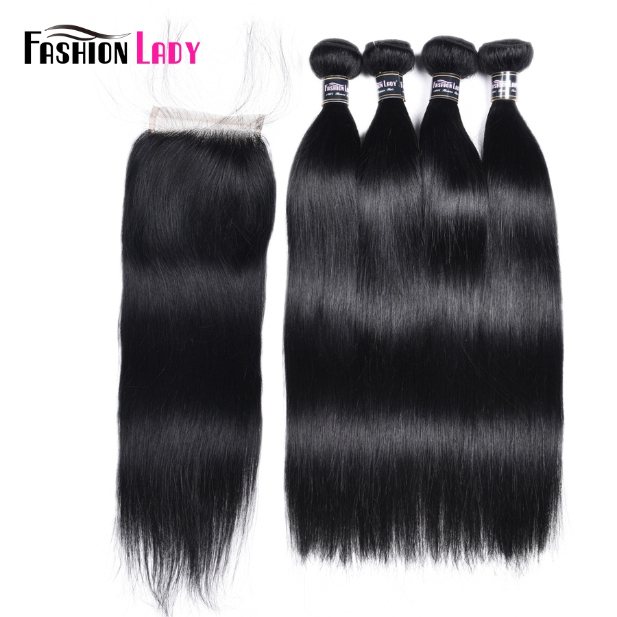 Fashion Lady Pre-Colored Brazilian Straight Hair Bundles With Closure 3/4 Bundles 1# Jet Black Bundles With Closure Non-Remy