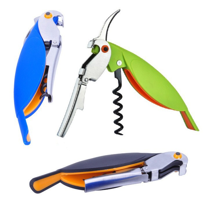 Free Shipping New Fashion Design Stainless Steel Muti Color Parrot Bottle Red Wine Opener
