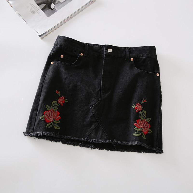 2017 חצאית קיץ עבור נשים גבוהה המותניים קצר חצאית Midi רוז רקמה מיני מקרית דנים כחול שחור