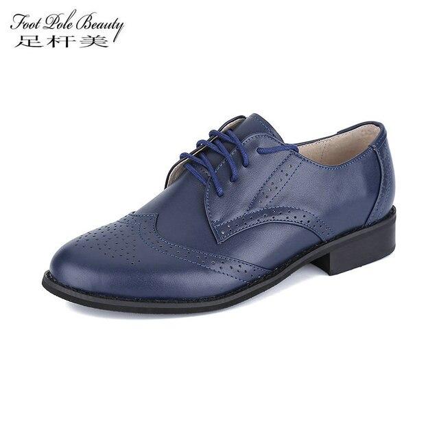PÔLE de PIED BEAUTÉ Marque Vintage Main Chaussures blanc Bullock sculpté Oxford  chaussures pour femmes grande 97846dc57463