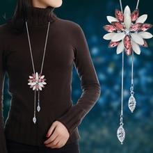 Lemon Value Fashion Luxury Statement Maxi  Rhinestone Flower Pendant Vintage Crystal Tassel Long Necklace Women Jewelry A270