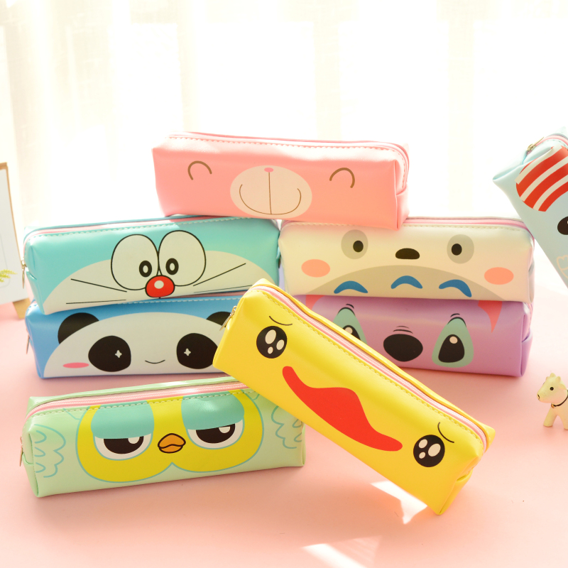 Cute Kawaii Yellow Duck PU Pencil Case Lovely Cartoon Panda Pen Bag For Kids Gift Korean Stationery Free Shipping