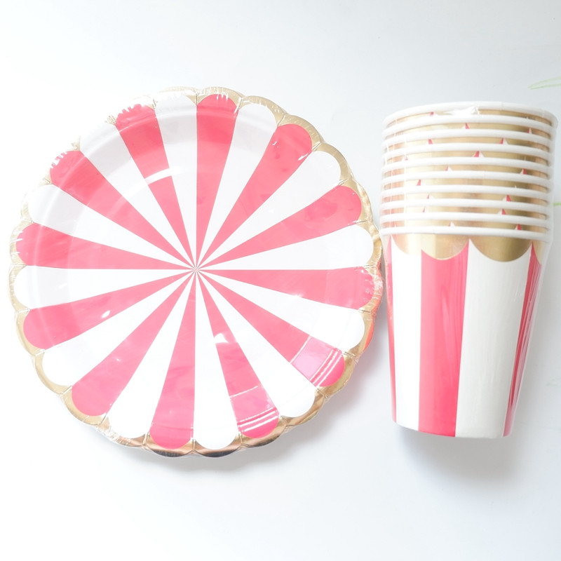 Image 5 - 20pcs/lot Gold Pink Striped Disposable Tableware Party Paper Plates Baby Shower Birthday Party Supplies Paper Cups Tableware-in Disposable Party Tableware from Home & Garden