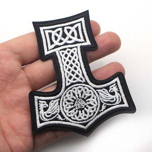 Image 1 - D0006 Patchfan 20pcs/lot Mjolnir North Viking Thor Hammer Loki Odin Skins Embroidered Iron on Patches for Clothing DIY Appliques