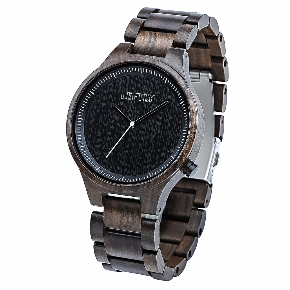 LEFTLY Men Lightweight Wooden Quartz Watch Handmade Simple Analog Wood Wristwatch woodfish bamboo wood watch for mens simple quartz watch handmade high quality wooden wristwatch wood leather strap available