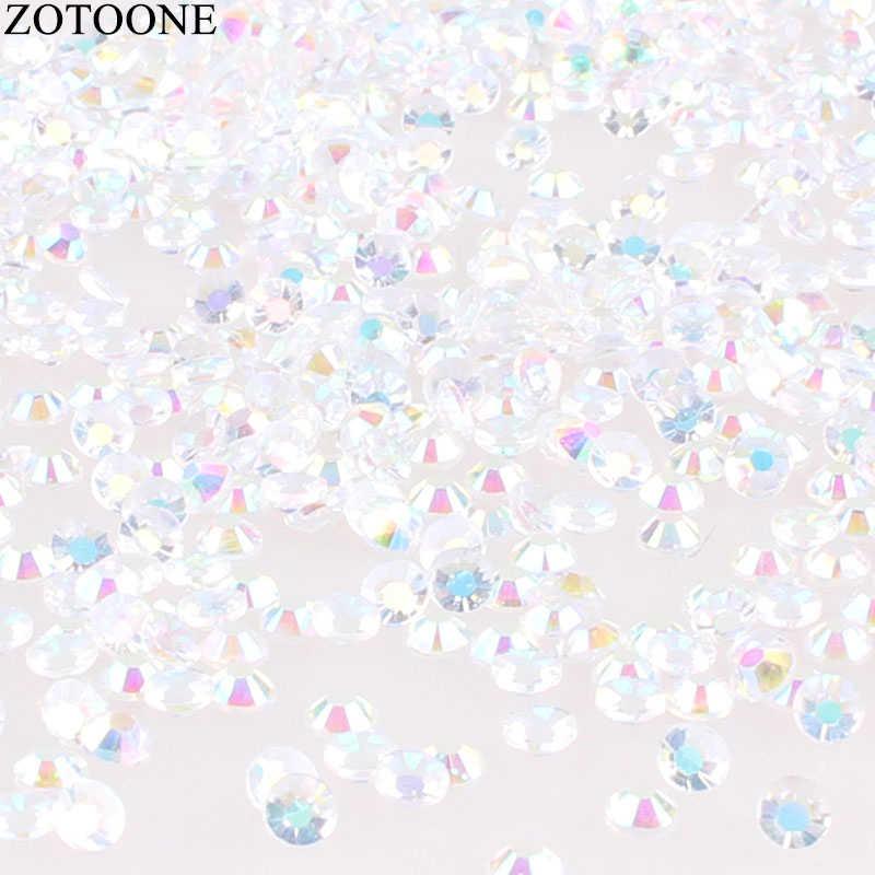 ZOTOONE ผสมขนาด 1000 ชิ้น/ล็อต Rhinestones 3-5 มม.คริสตัลสีขาวและ AB หิน Non Hotfix กาวกลับเหล็กบน Rhinestones สำหรับเสื้อผ้า