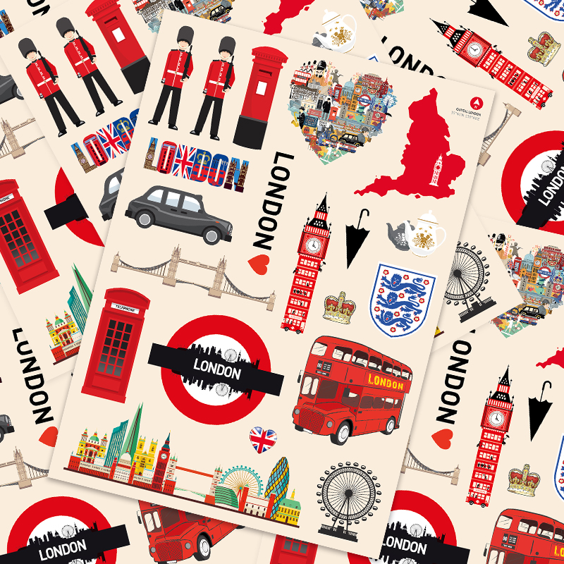 20 Pcs  England Landmark Sticker Trolley Case Suitcase Sticker Suitcase Guitar Sticker