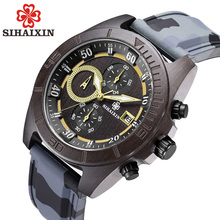SIHAIXIN Military Sport Wooden Watch Men with Silicone Strap Quartz Wood Wristwatch Chronograph Clock Man Waterproof 2018 New