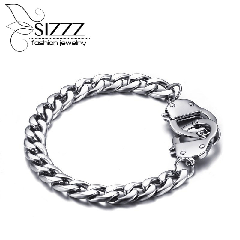 2016 Men Handcuffs Bracelet Stainless Steel Link Chain Bracelets Men Jewelry Secret Shades Mens Handcuff Bracelet 20.5cm opk biker stainless steel men bracelet